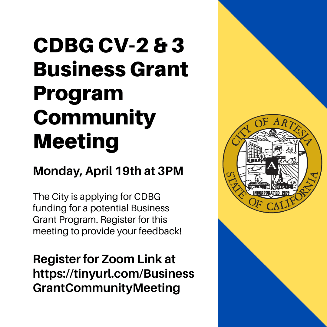 CDBG CV-2-3 Business Grant Program Community Meeting